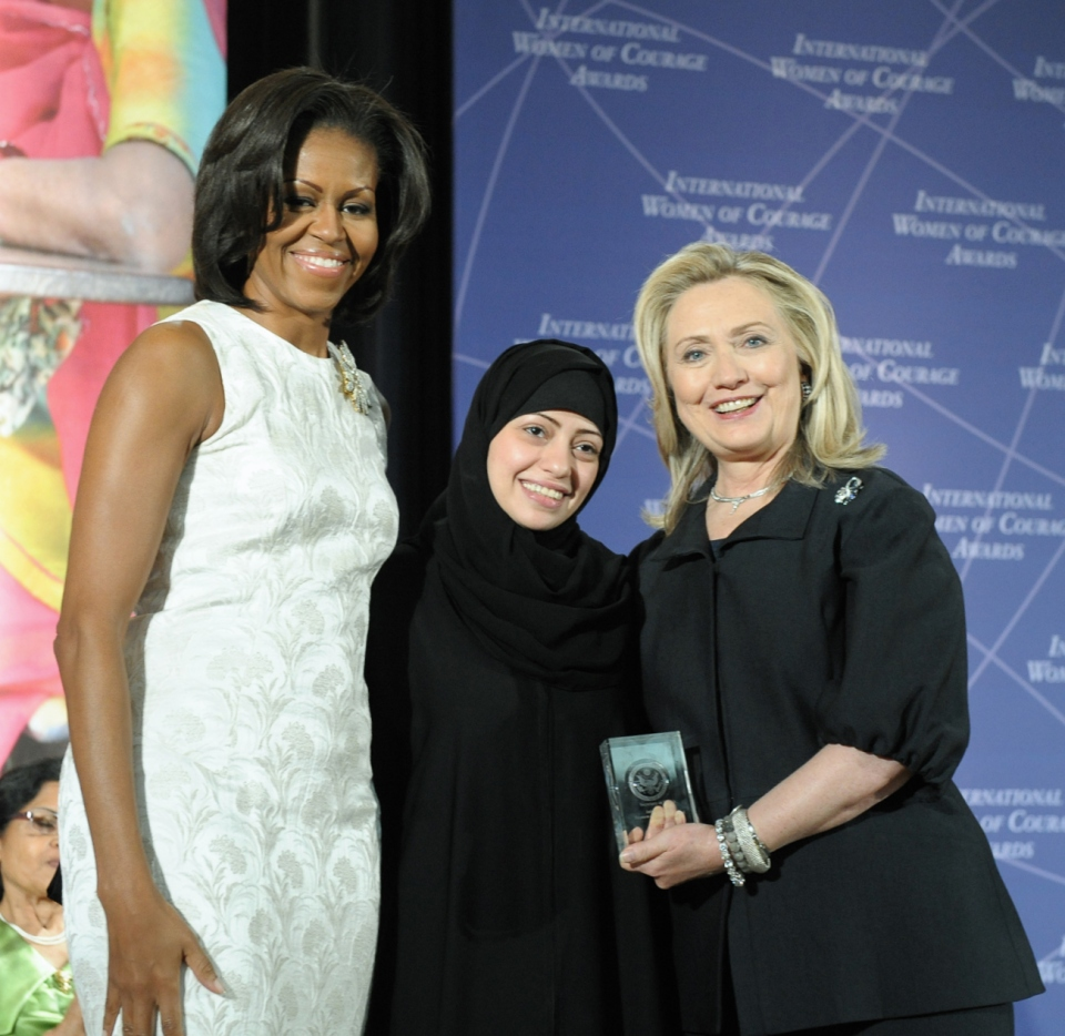 Samar receiving the 2012 International Women of Courage Awards